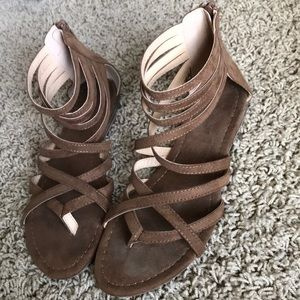 Brown suede strappy sandals
